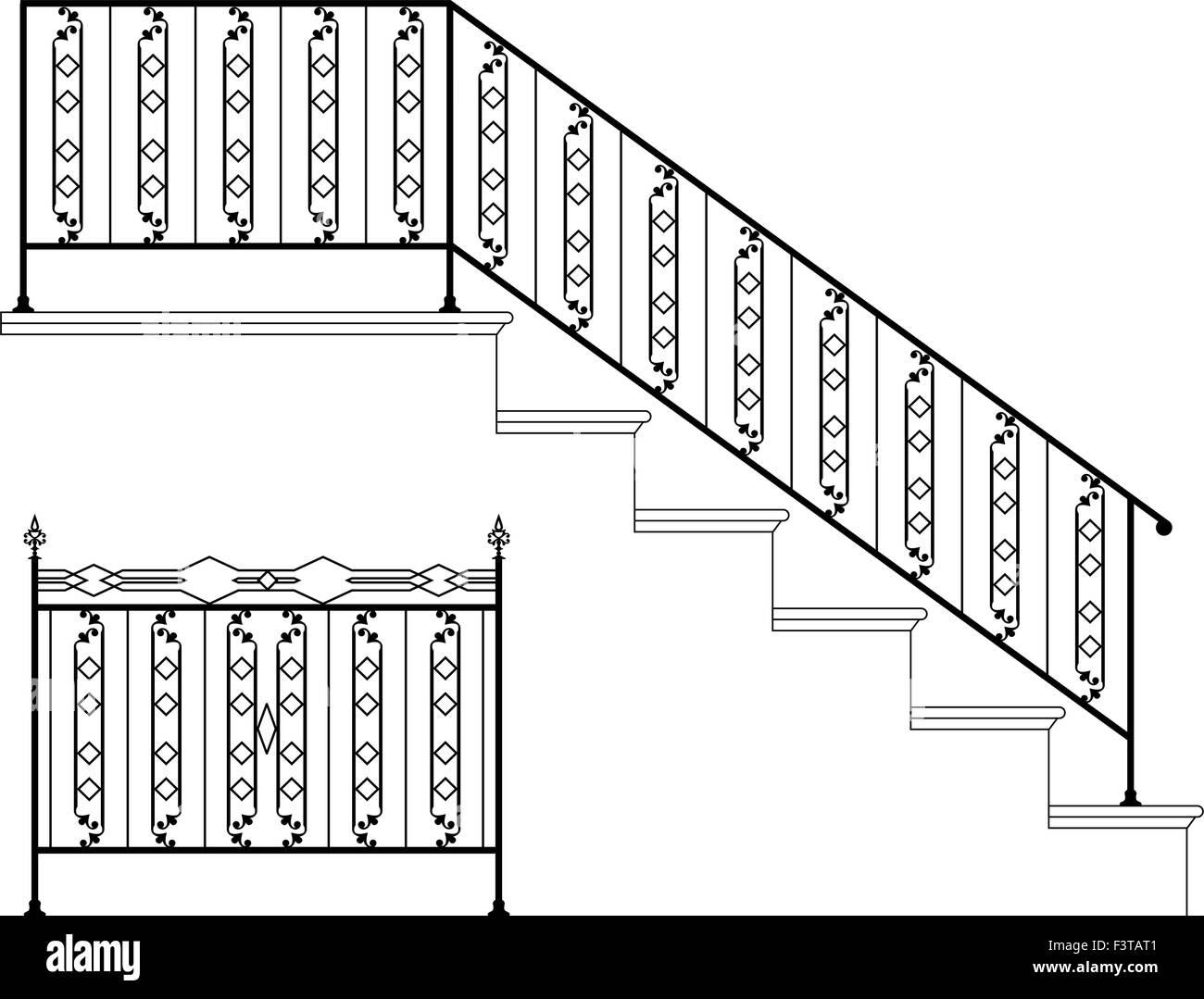 Wrought Iron Stair Railing Design Vector Art