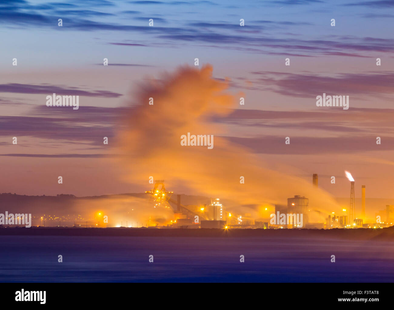 SSI Redcar steelworks from Seaton Carew beach. UK - Stock Image