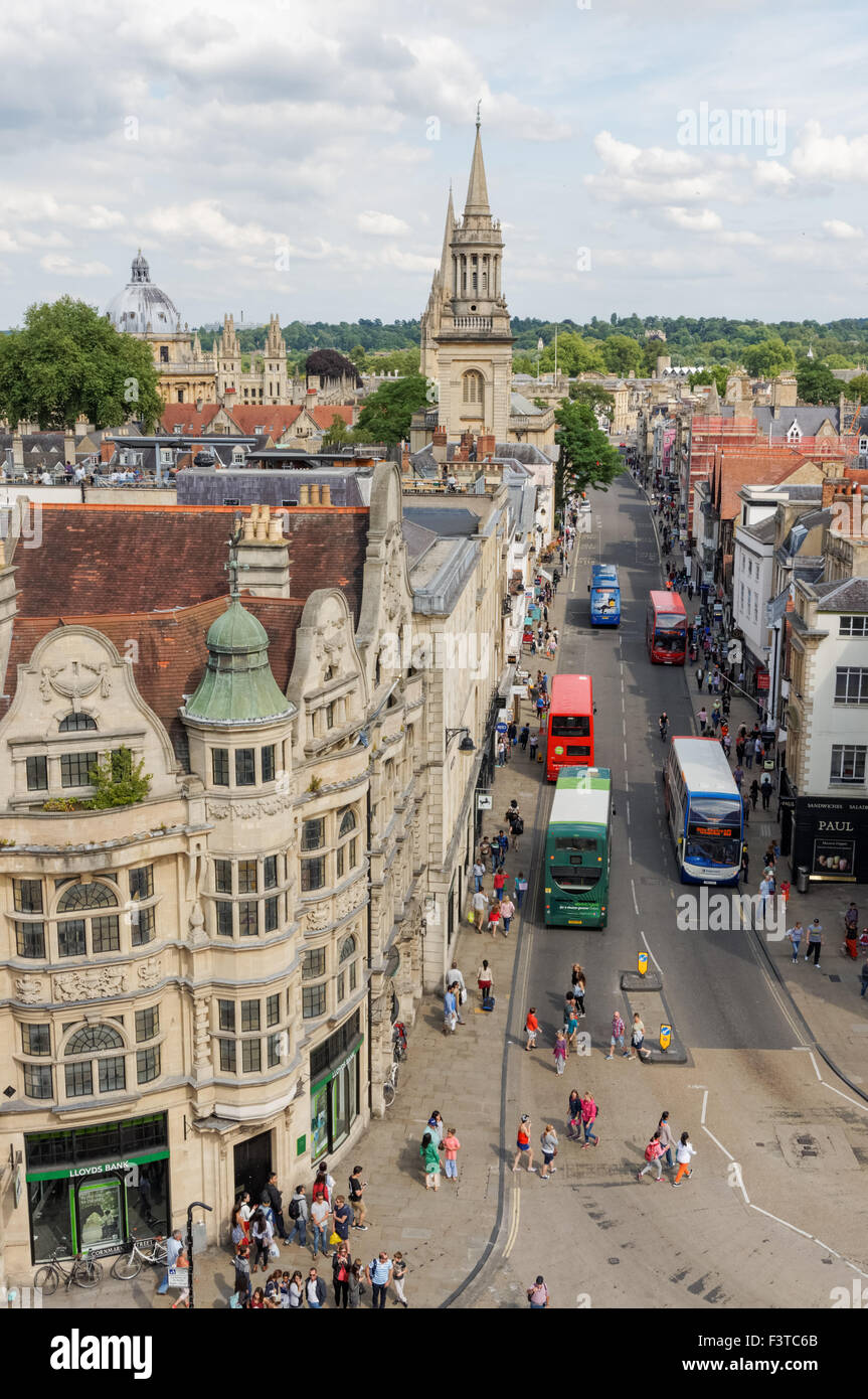 View from the top of St Martin's Tower, Carfax Tower in Oxford Oxfordshire England United Kingdom UK - Stock Image
