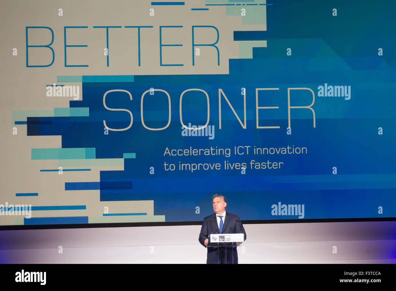 Budapest. 12th Oct, 2015. Hungarian Prime Minister Viktor Orban addresses the opening ceremony of ITU Telecom World - Stock Image