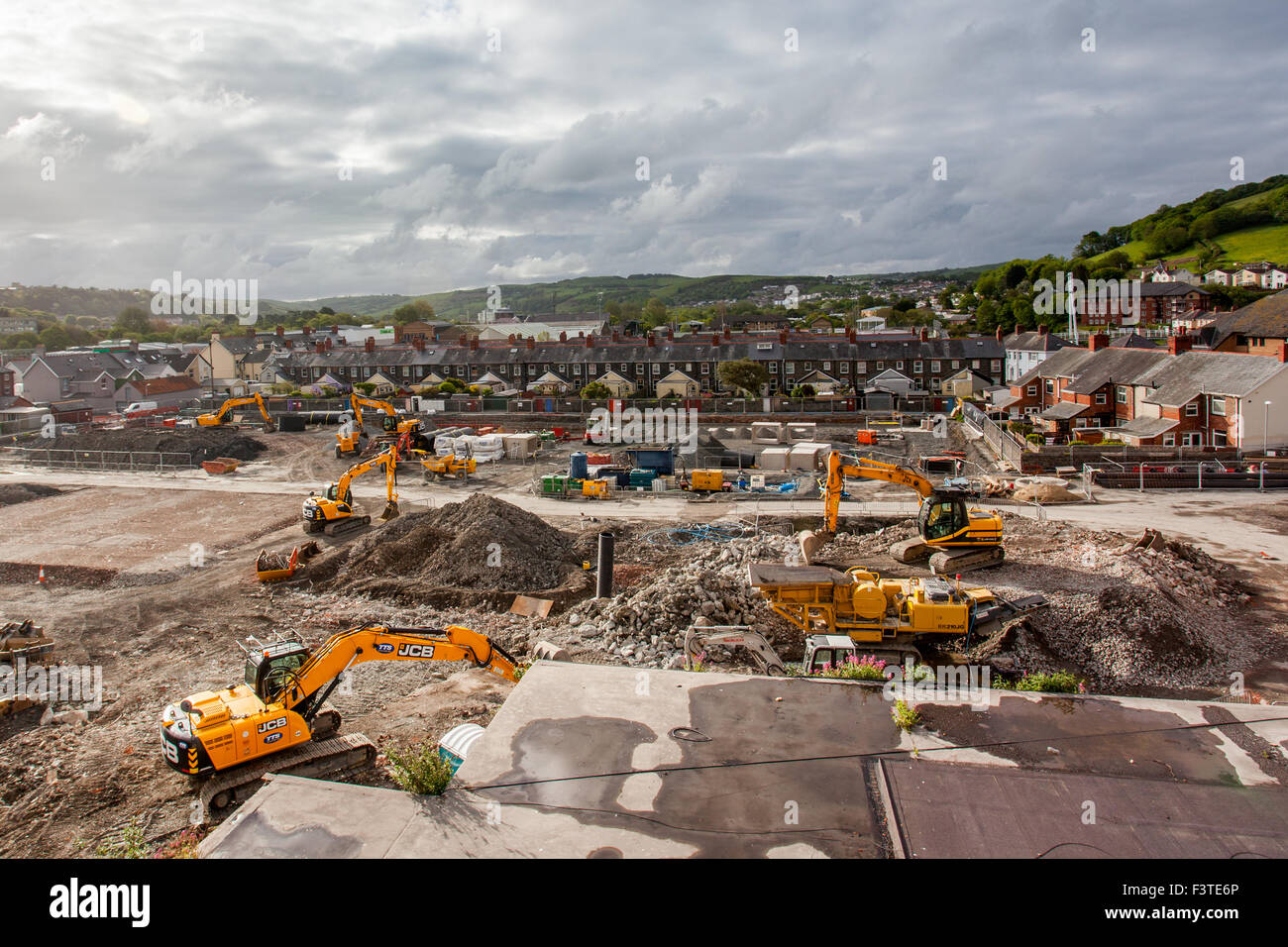 Future Tesco and Marks & Spencer site under construction at Aberystwyth 2015 - Stock Image
