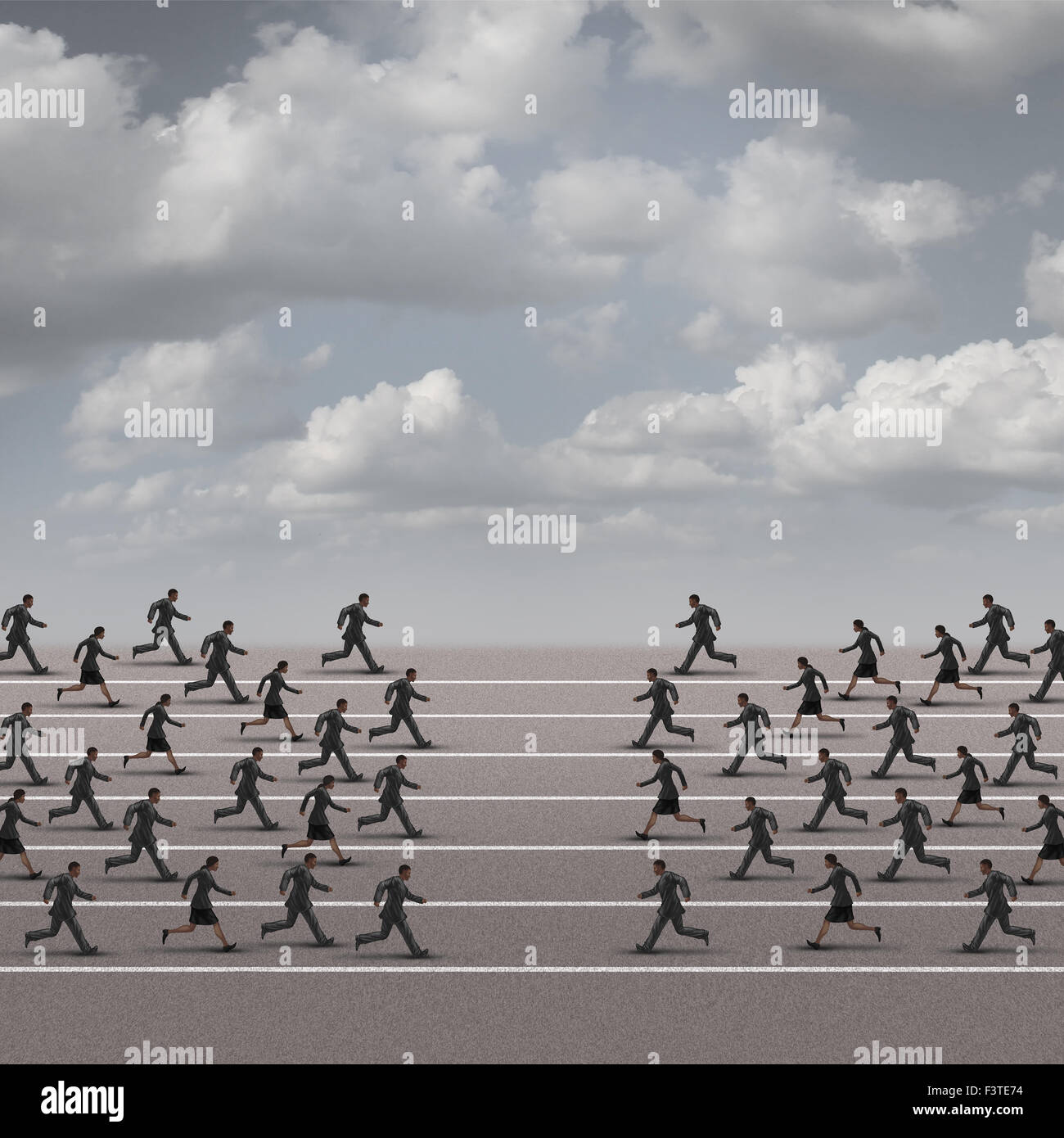 Joining forces business concept or company group confrontation as businesswomen and businessmen running towards - Stock Image