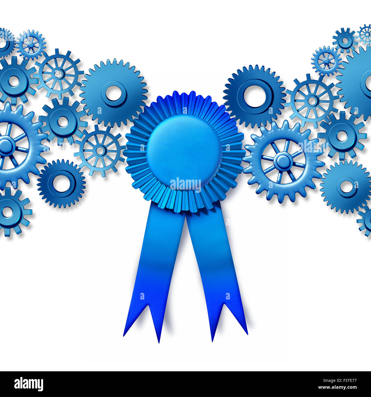 Business award concept as a blue ribbon reward turning connected gears and cog wheels as an industry honor for working - Stock Image
