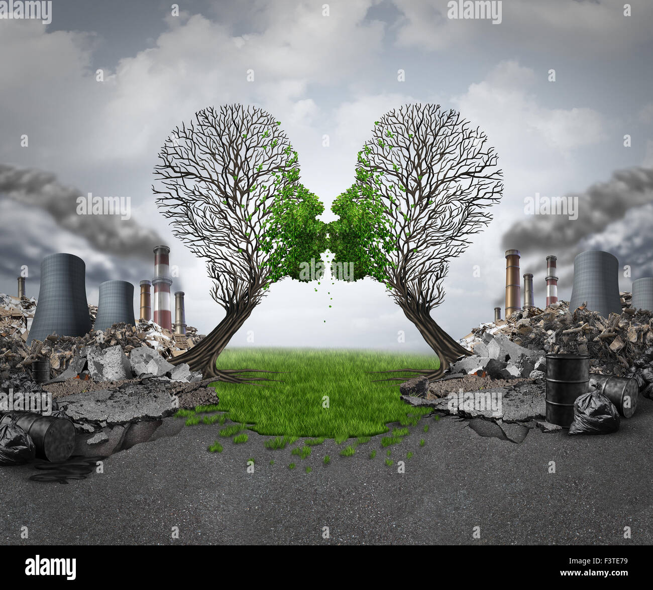 Climate recovery and environmental renewal as two empty trees shaped as human heads kissing and reviving new green - Stock Image