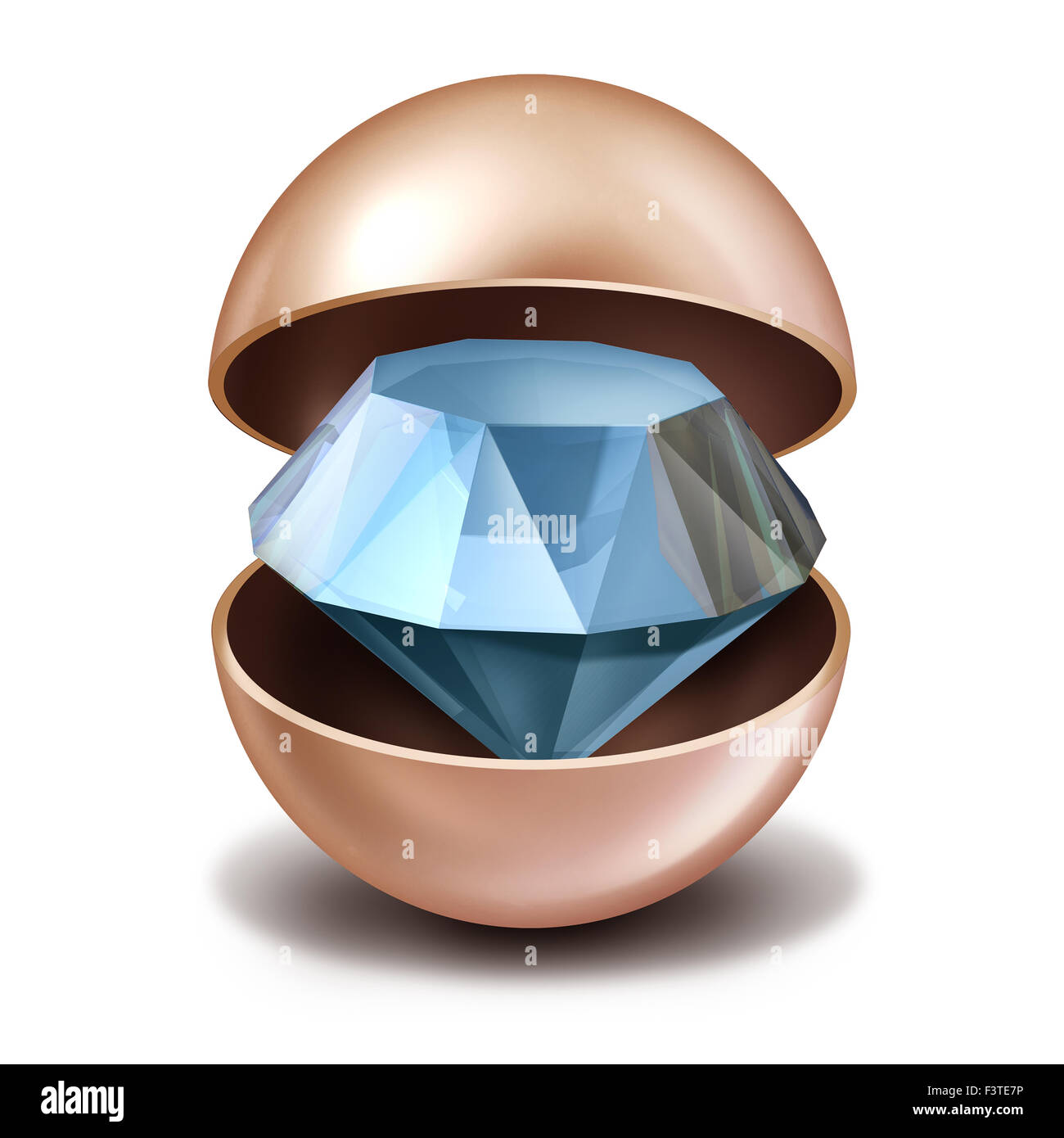 Investing secrets concept as an open precious pearl with a sparkling diamond inside as a business investing metaphor Stock Photo
