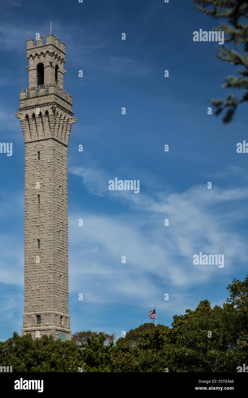 Pilgrim Monument at Provincetown. Cape Cod, Massachussetts - Stock Image