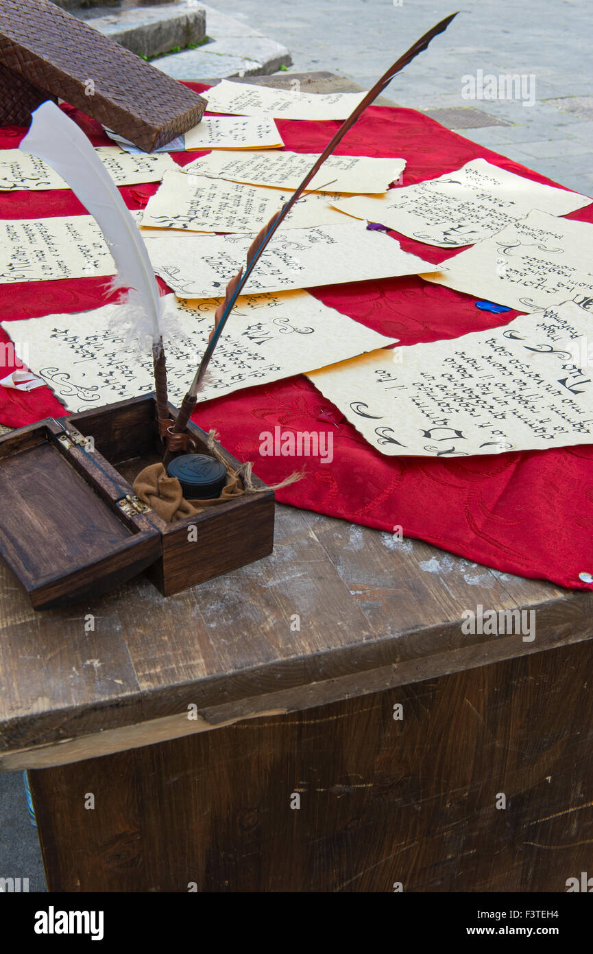 ancient letter written by hand - Stock Image