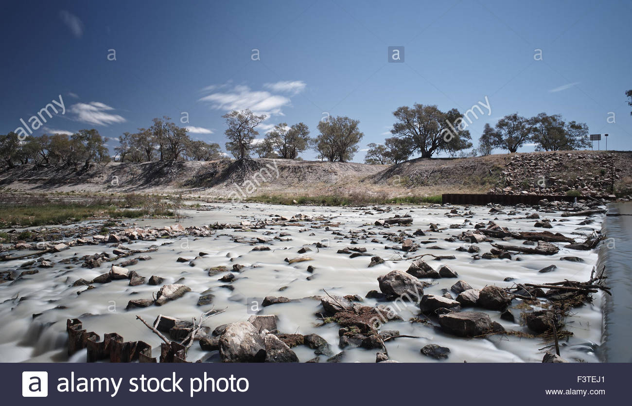 A long exposure image highlighting the tragic state of Australia's largest river system - the Murray-Darling - Stock Image