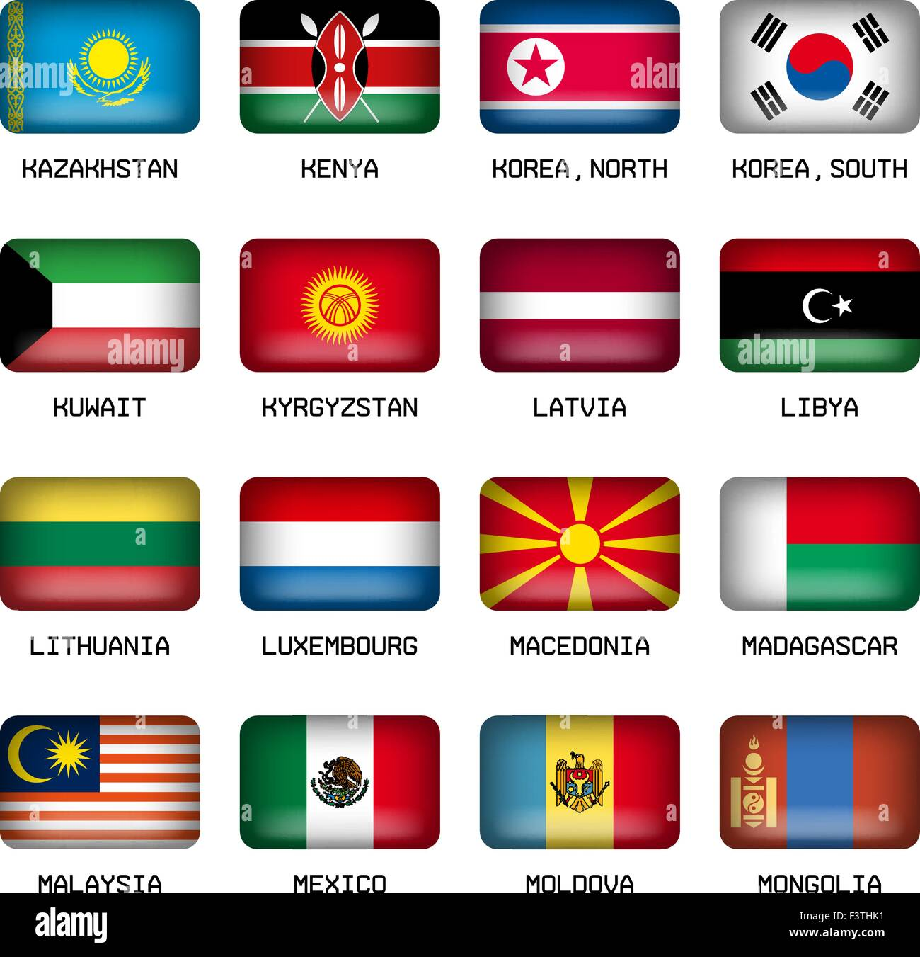 Set of Vector Rectangle Pillow Button Shape Flags of the World Most States - Stock Vector