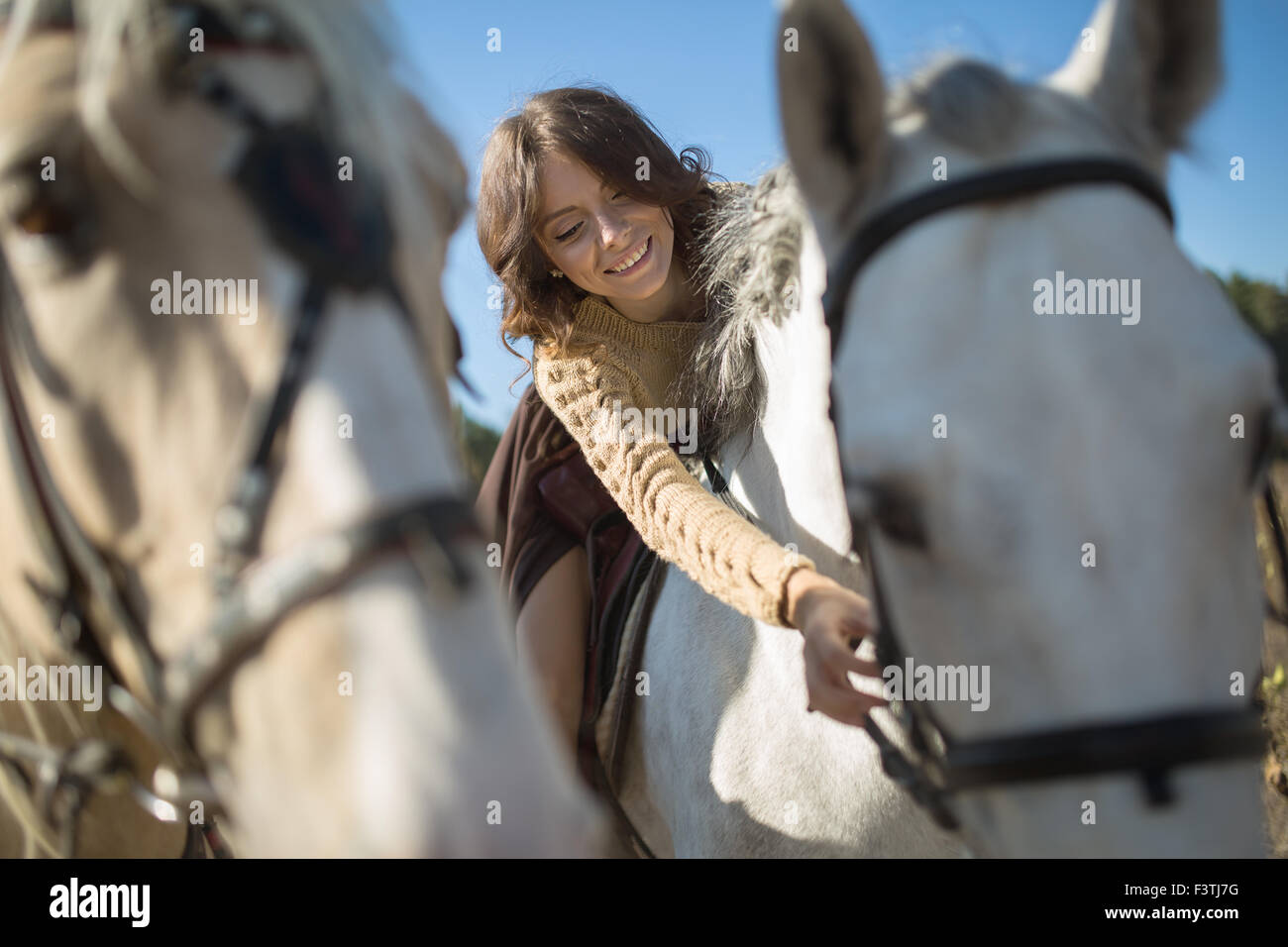 Beautiful girl riding a horse - Stock Image