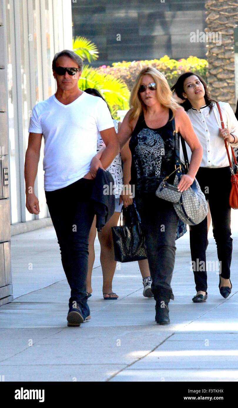 Fashion Designer Lloyd Klein and socialite Jocelyn Wildenstein out and about in Beverly Hillsarm in arm as they Stock Photo