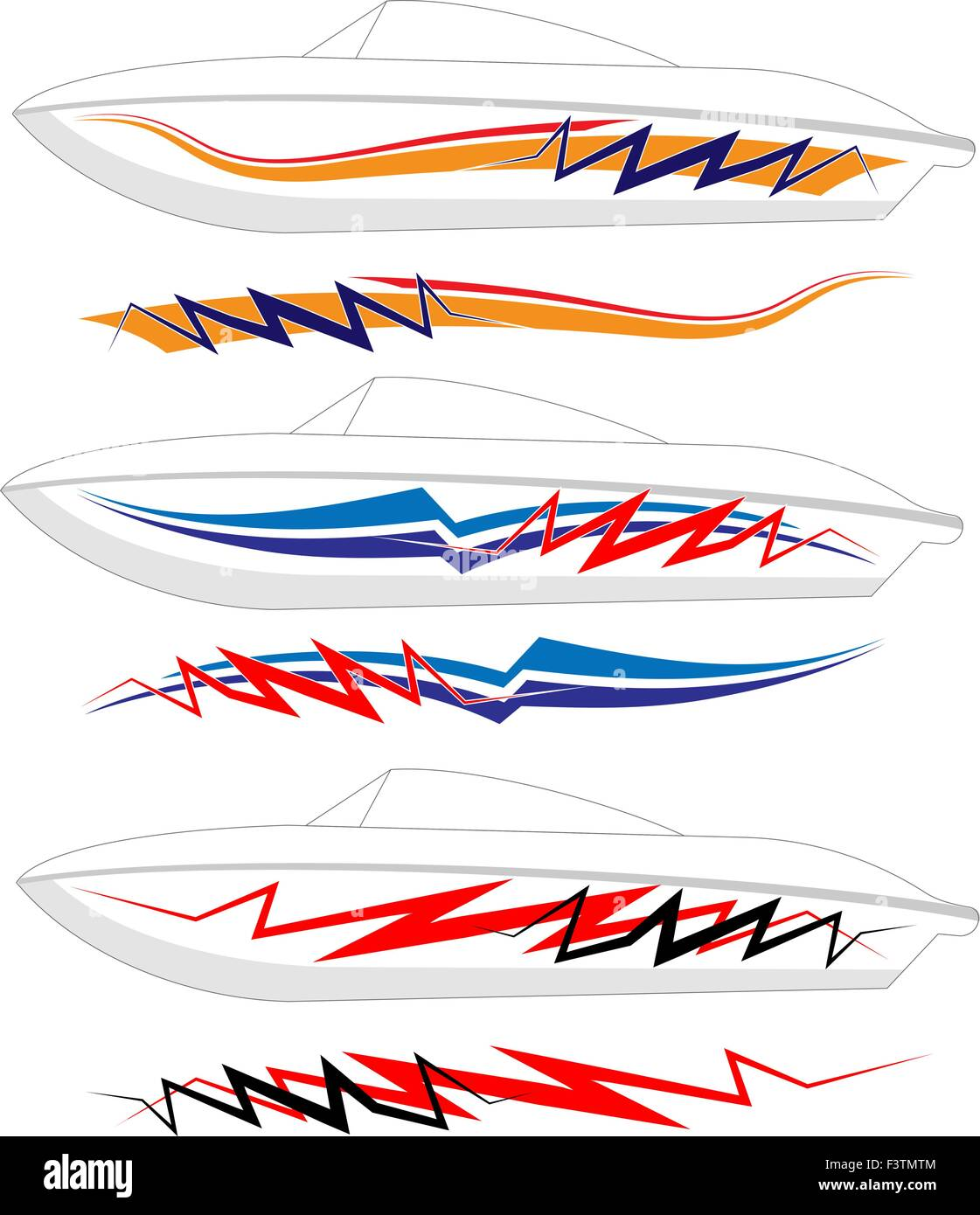 Boat Graphics, Stripe : Vinyl Ready Vector Art Stock