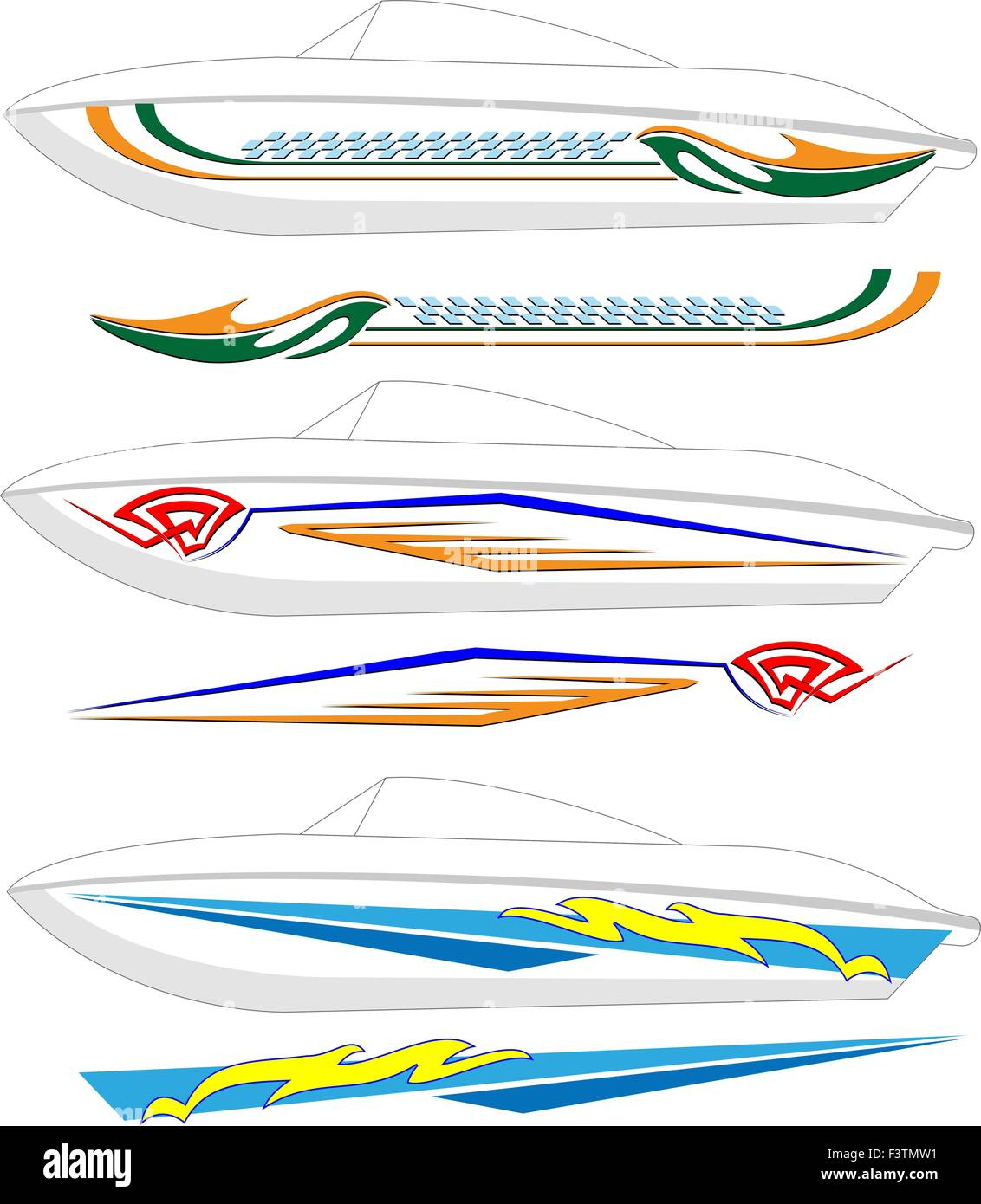 Boat graphics stripe vinyl ready vector art