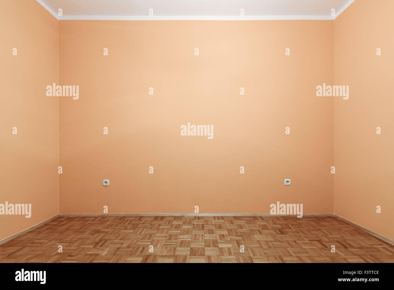 Retro pastel color of empty room with two power plugs sockets Stock ...