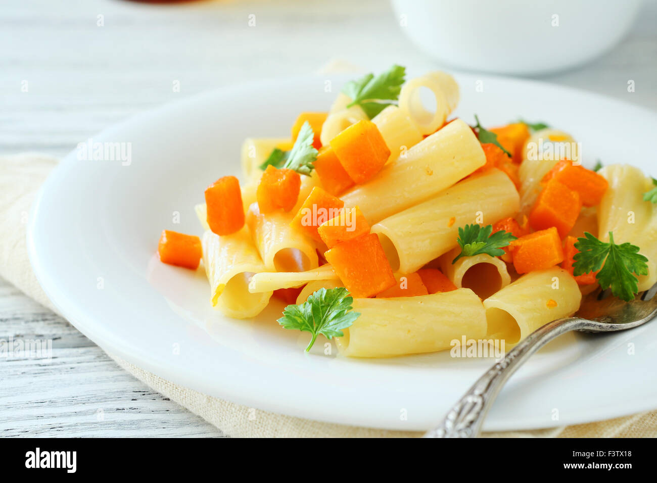 Nutritional penne with vegetables, food - Stock Image