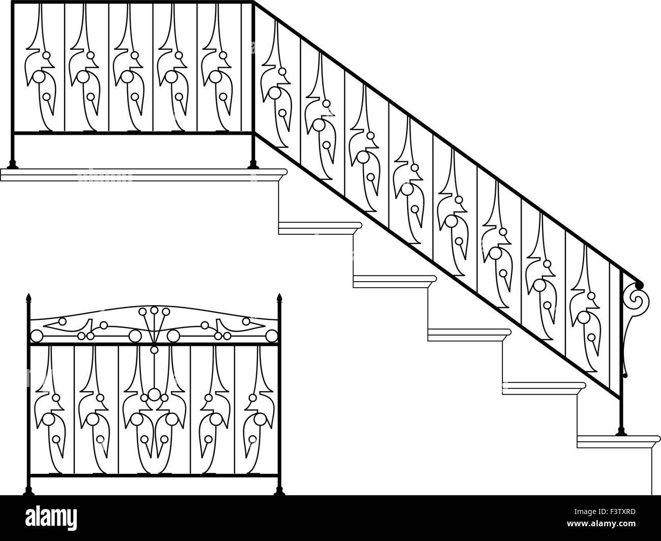 Wrought Iron Stair Railing Design Vector Art Stock Vector Art
