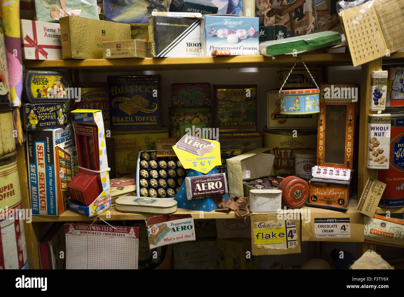 UK, England, Shropshire, Craven Arms, Market Street, Land of Lost Content museum, chocolate exhibit - Stock Image