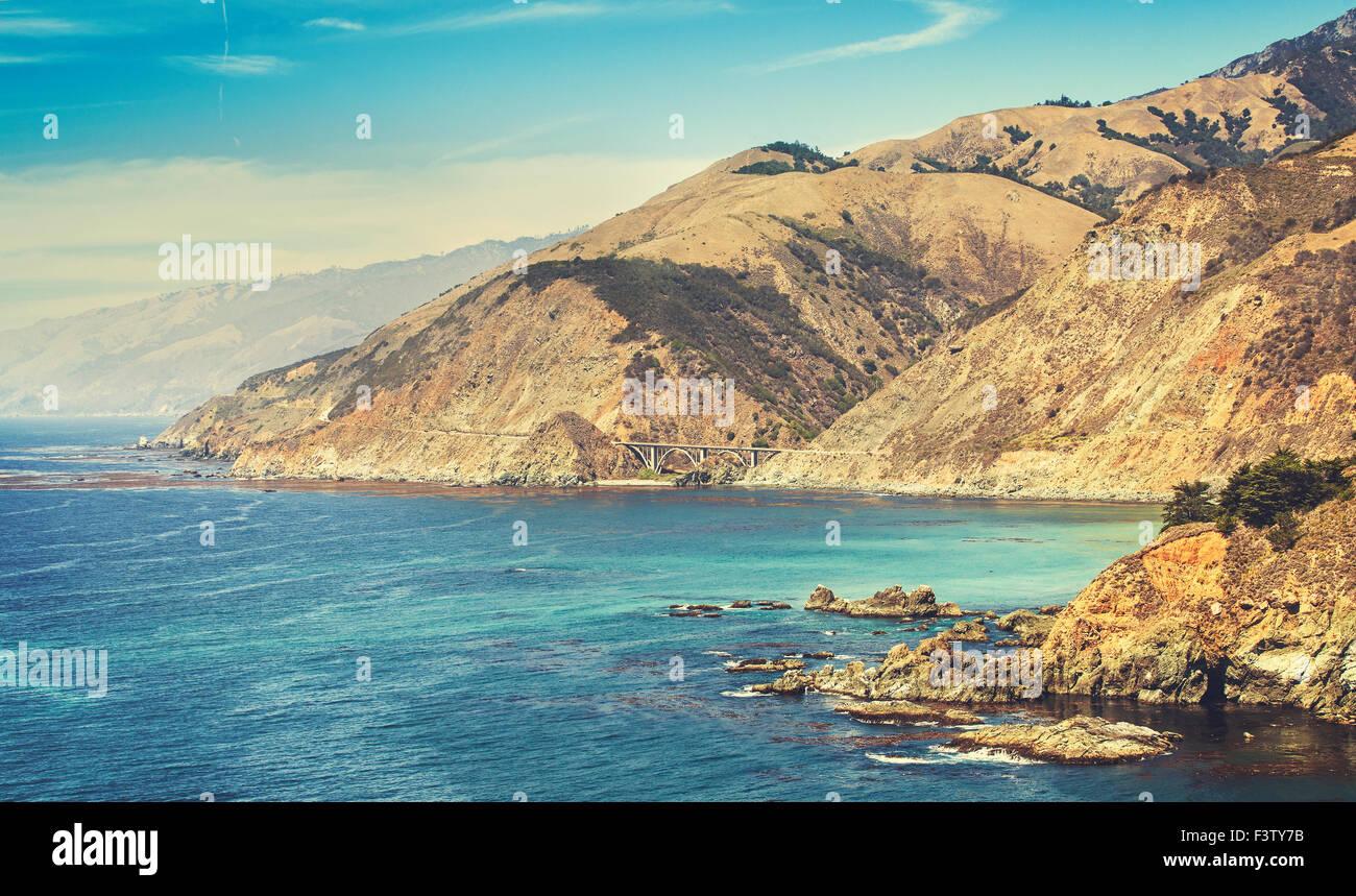 Retro stylized California coastline along Pacific Coast Highway, USA. - Stock Image