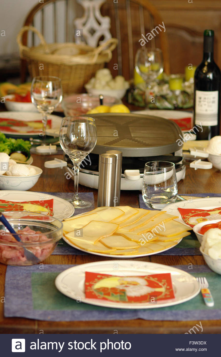 German Dinner Table With Traditional Cold Foods And Place Settings ...