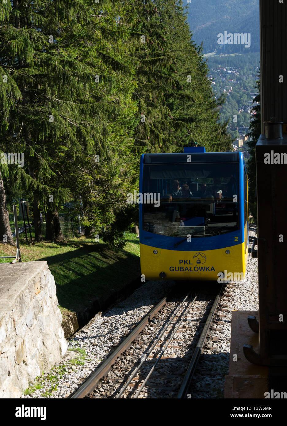Funicular railway carriage arriving top station Gubalowka Hill Zakopane Poland popular tourist destination with - Stock Image