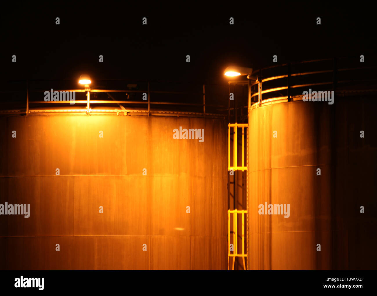 industry with fire at night Stock Photo