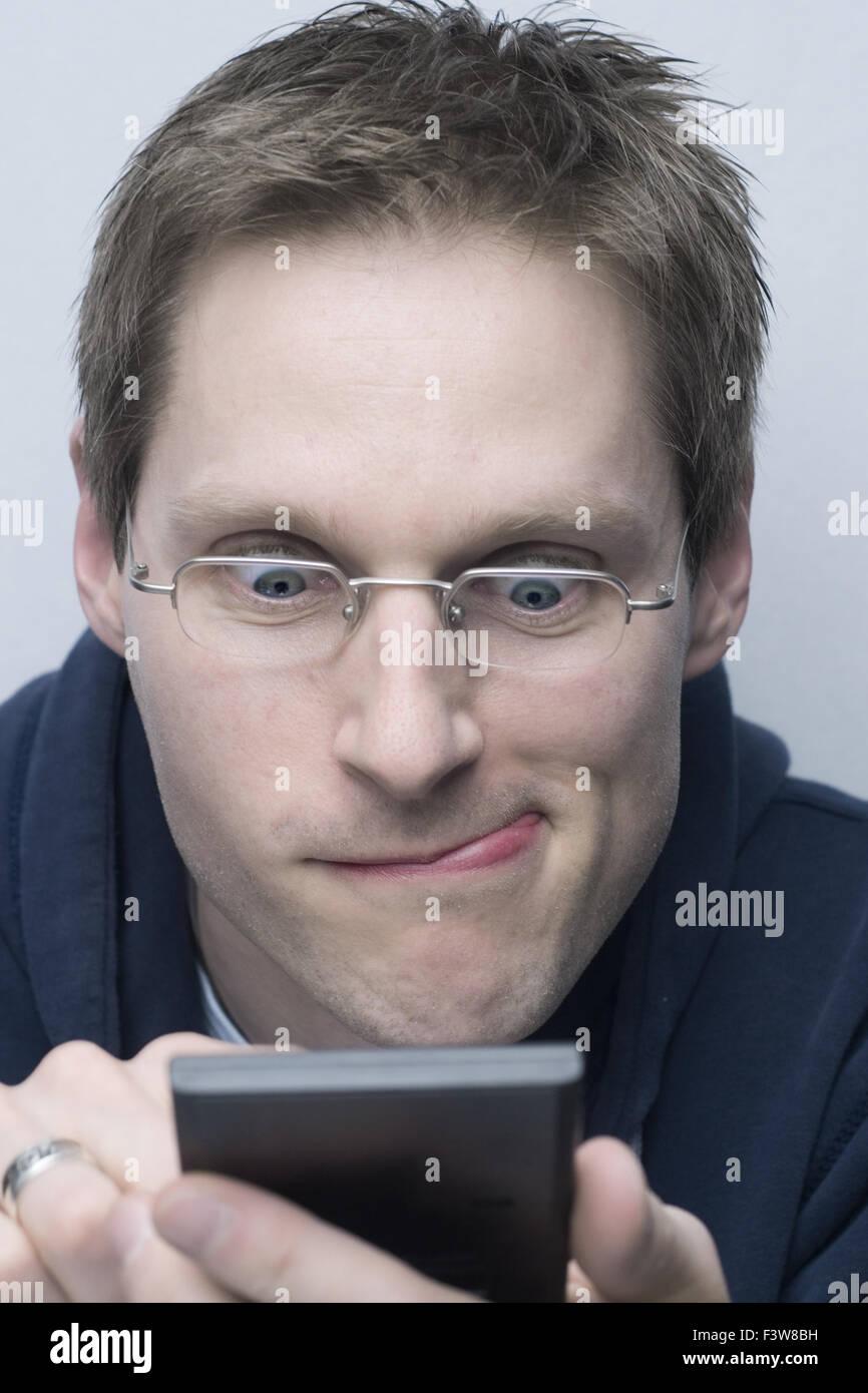 Man in computing - Stock Image