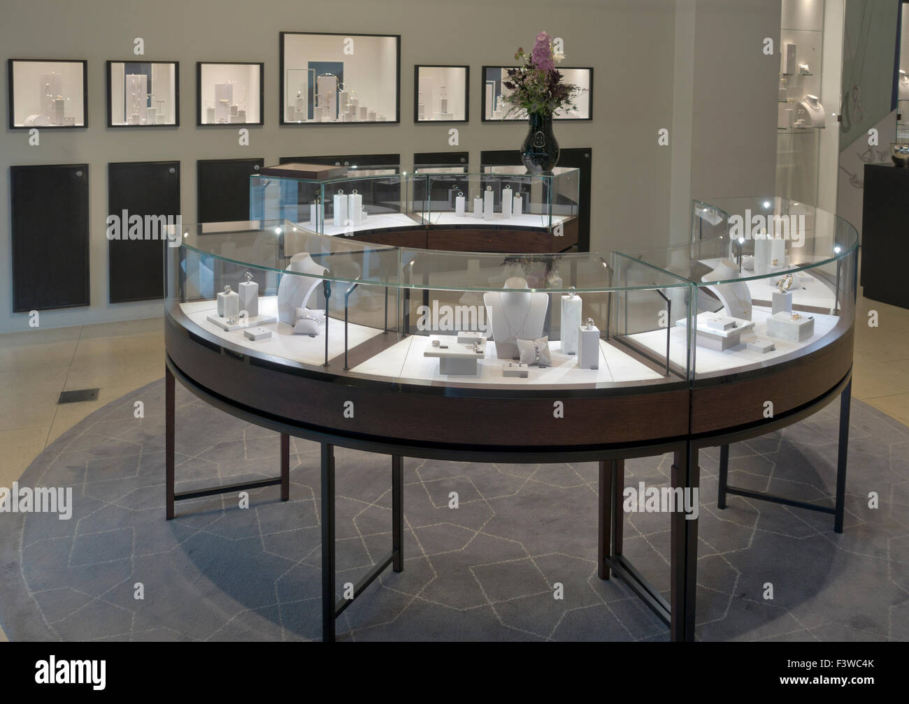 Jewellery display in Georg Jensen silversmith life style shop on pedestrian and shopping street Strøget in - Stock Image