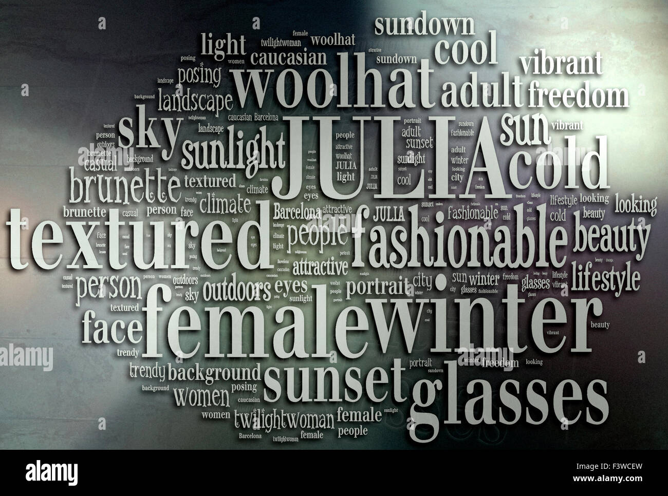 description of a woman in a sunny winter day - texture background (word cloud concept) - Stock Image