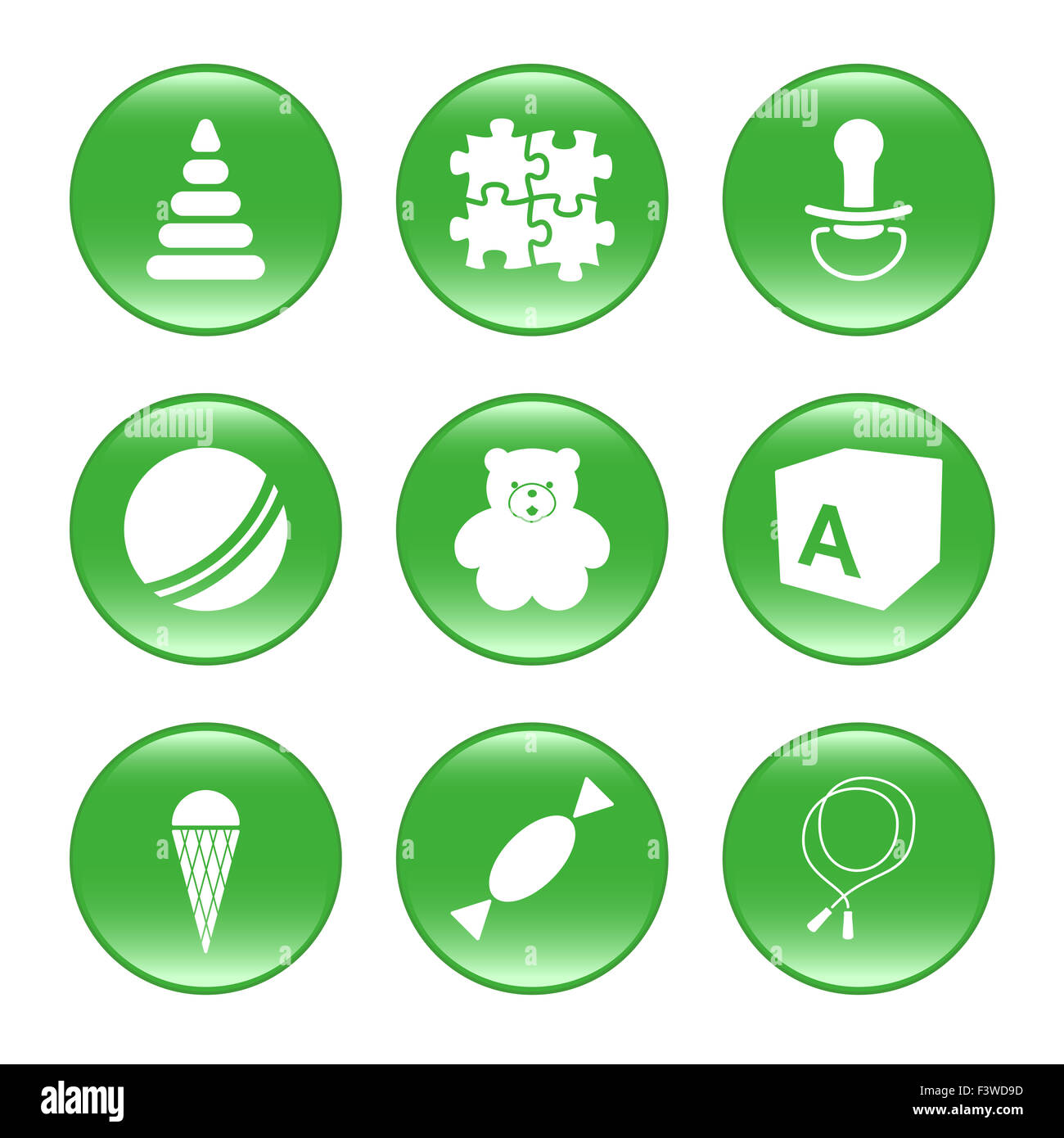 Nursery supplies - vector web icons - Stock Image