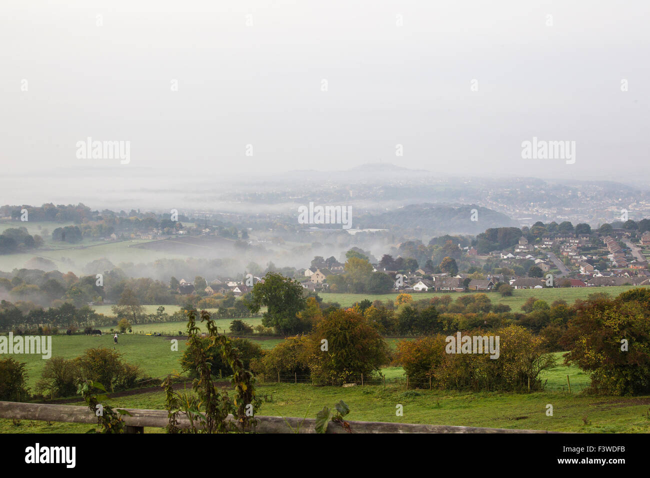 A misty autumnal morning on the outskirts of Huddersfield West Yorkshire - Stock Image