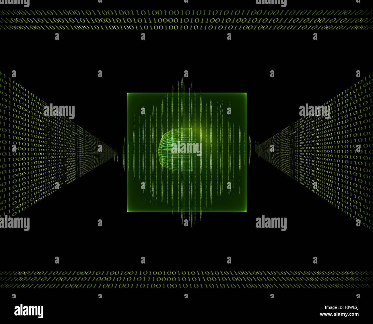 binary code data flow - Stock Image