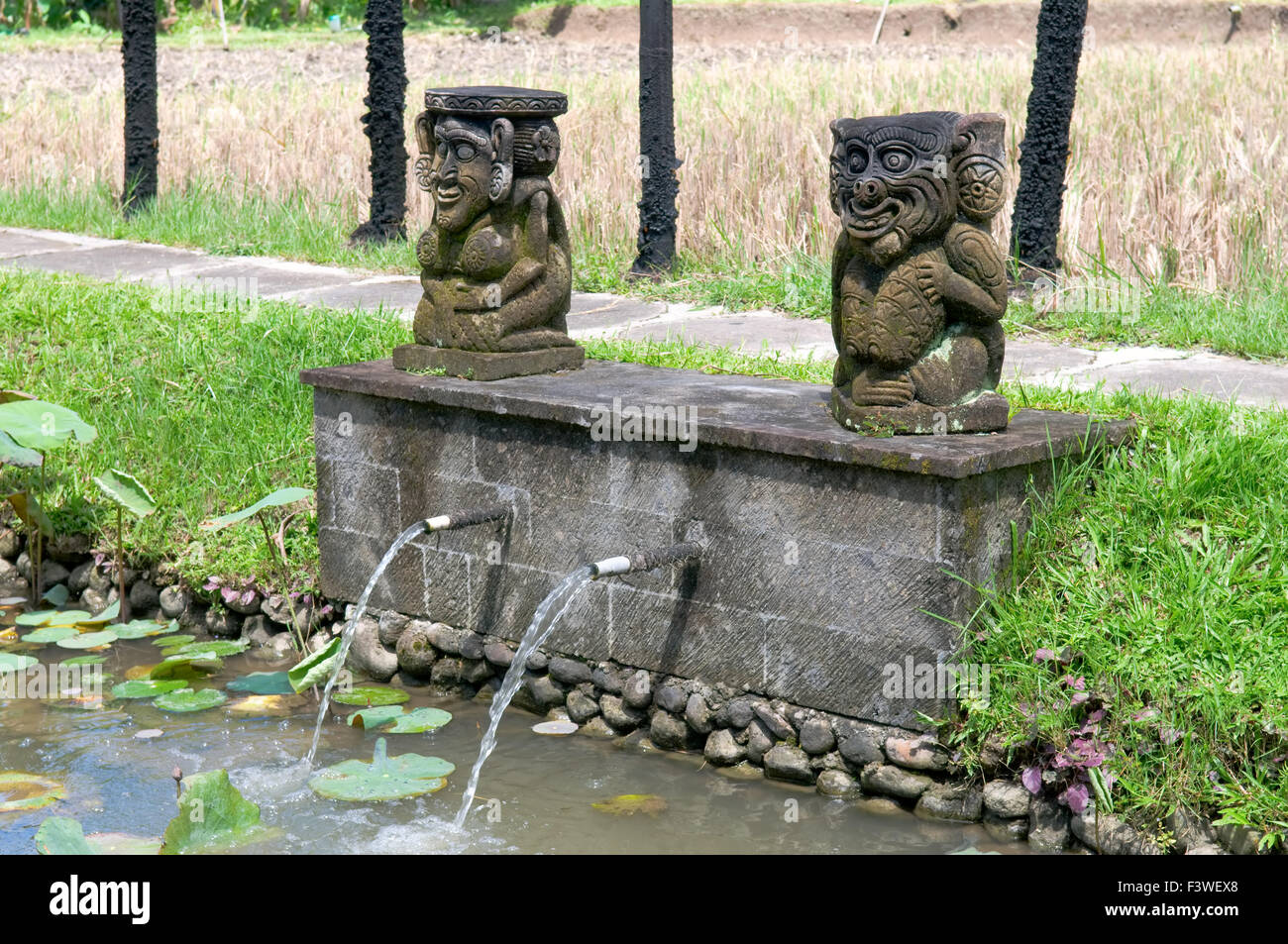 Unique fountain with balinese stone sculpture - Stock Image