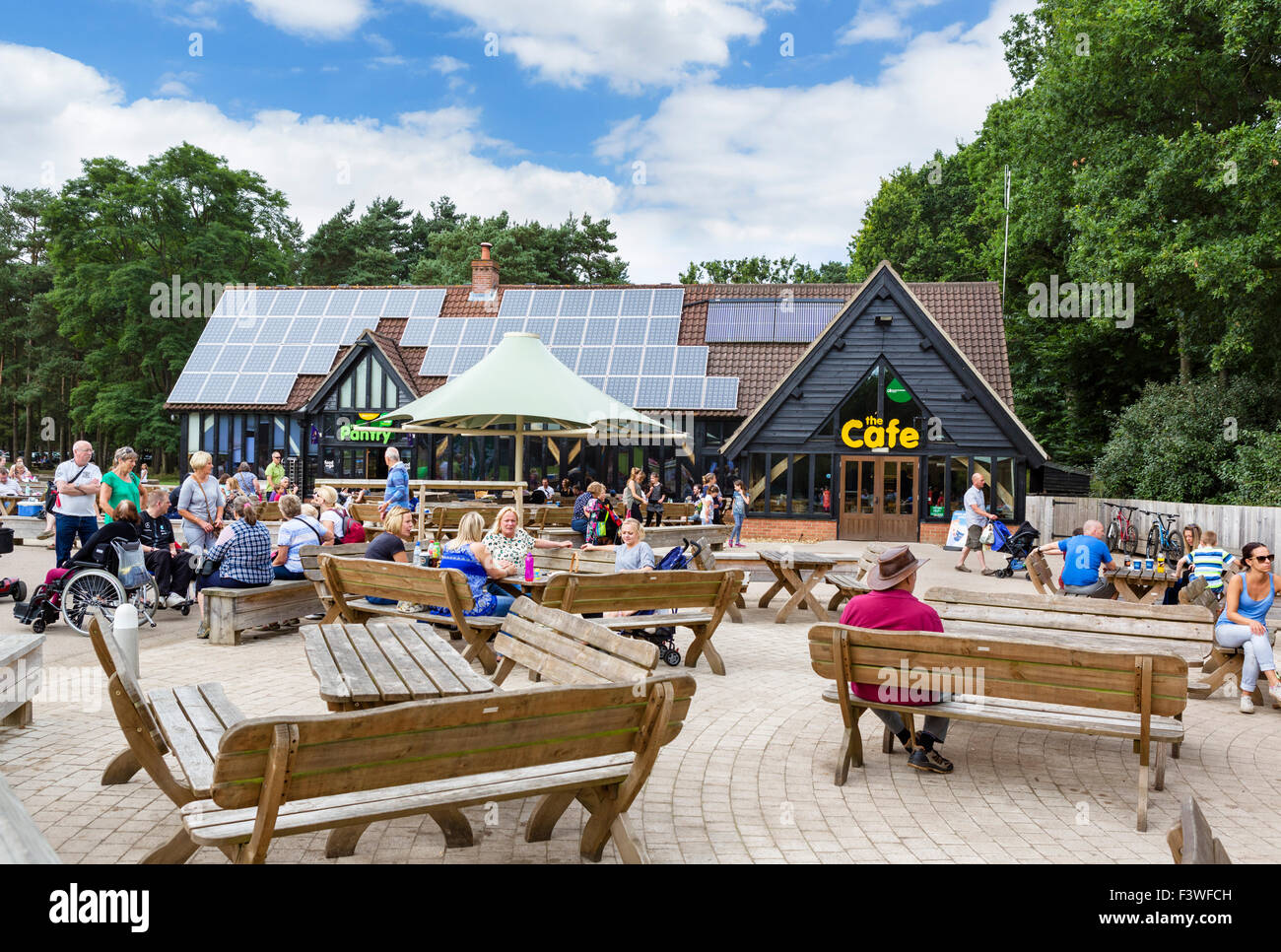 Cafe at High Lodge Visitors Centre in Thetford Forest, Norfolk, England, UK - Stock Image