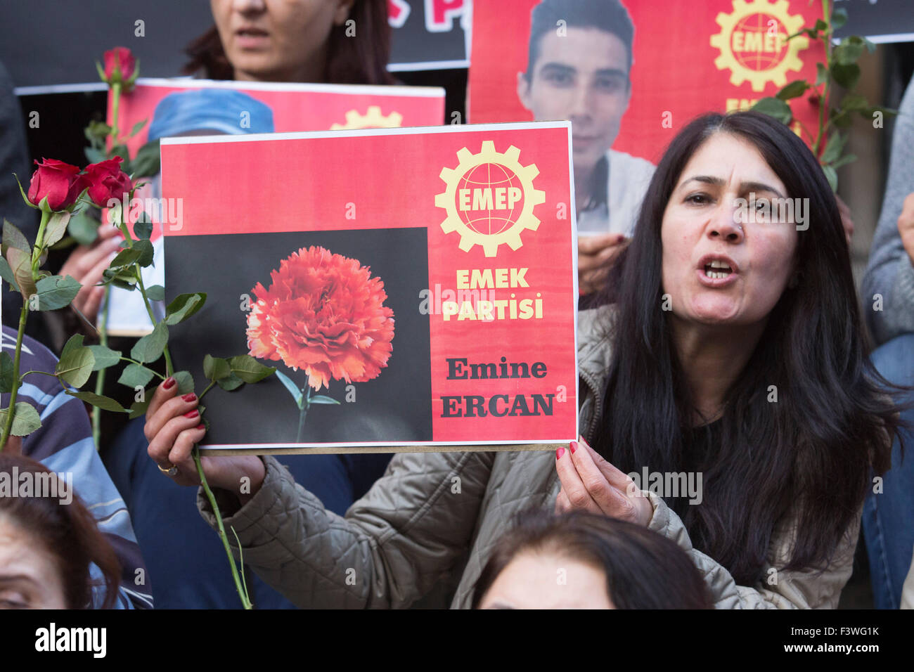 London, UK. 11/10/2015. Outside the BBC headquarters, protesters from Emek Partisi hold up pictures of people killed Stock Photo