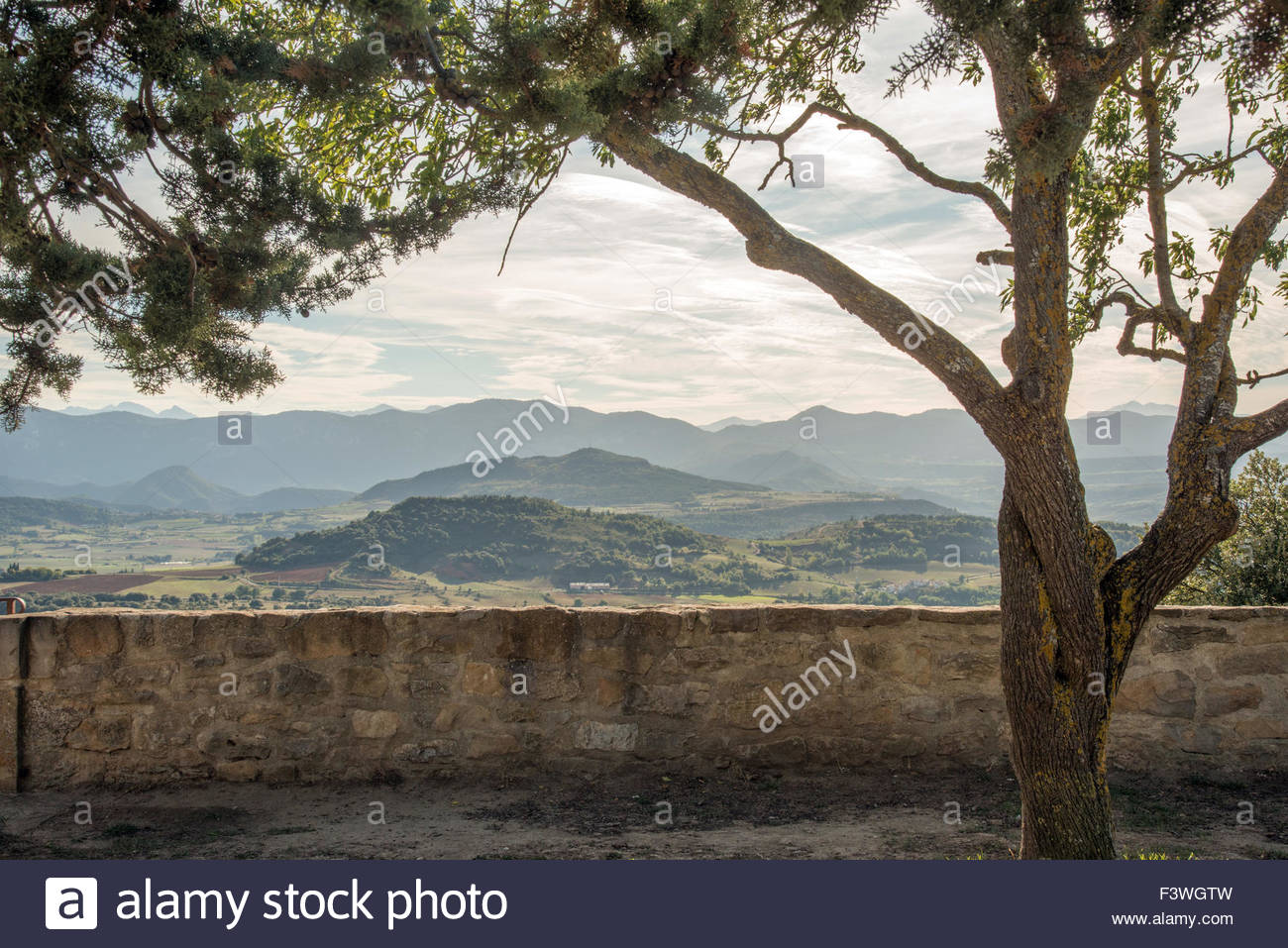Rennes Le Chateau: view towards the Pyrenees from the village Stock Photo