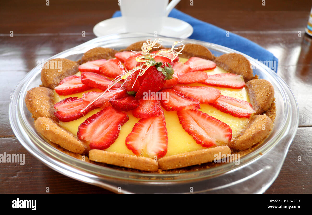 Strawberry Custard Biscuit Tart - Stock Image
