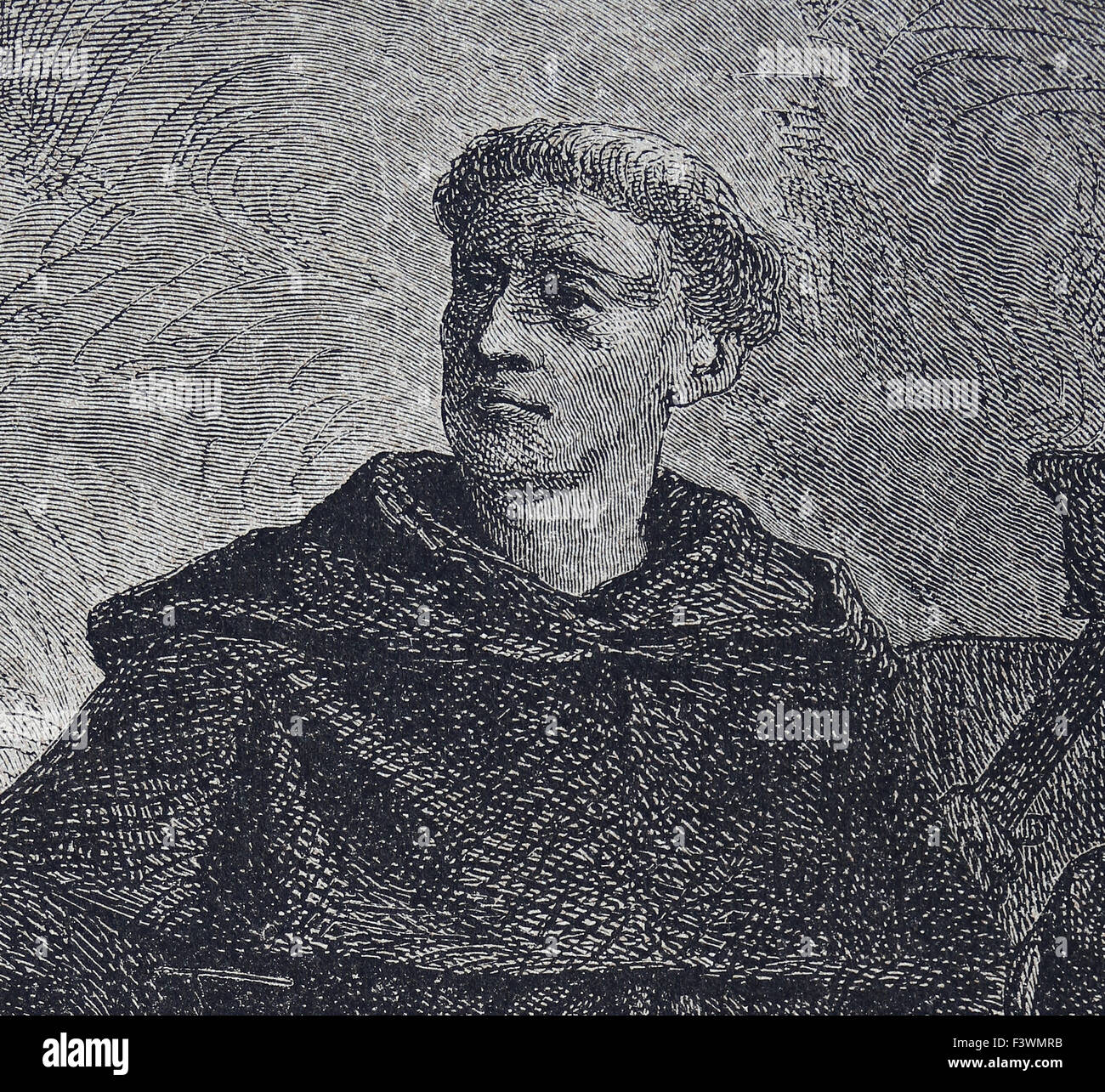 Martin Luther (1483-1546). German reformer. Figure of  Protestant Reformation. Engraving. 19th century. - Stock Image