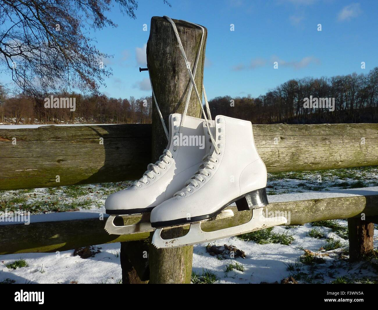 with ice skate by lake - Stock Image