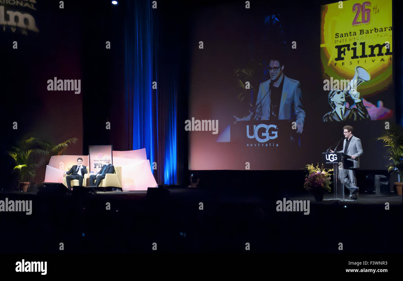 seth rogen gives tribute to James Franc - Stock Image