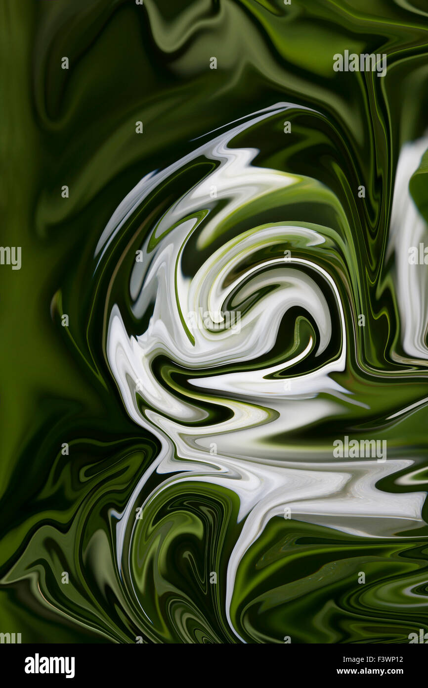 Green Swirling abstract based on a snowdrop image - Stock Image