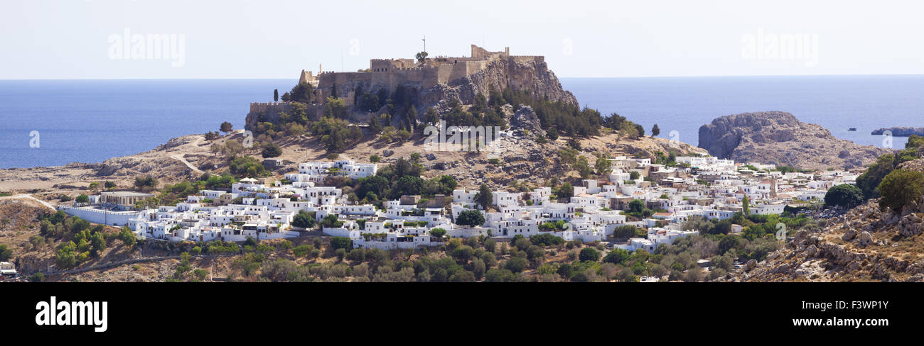 Village Lindos on island Rhodes - Stock Image