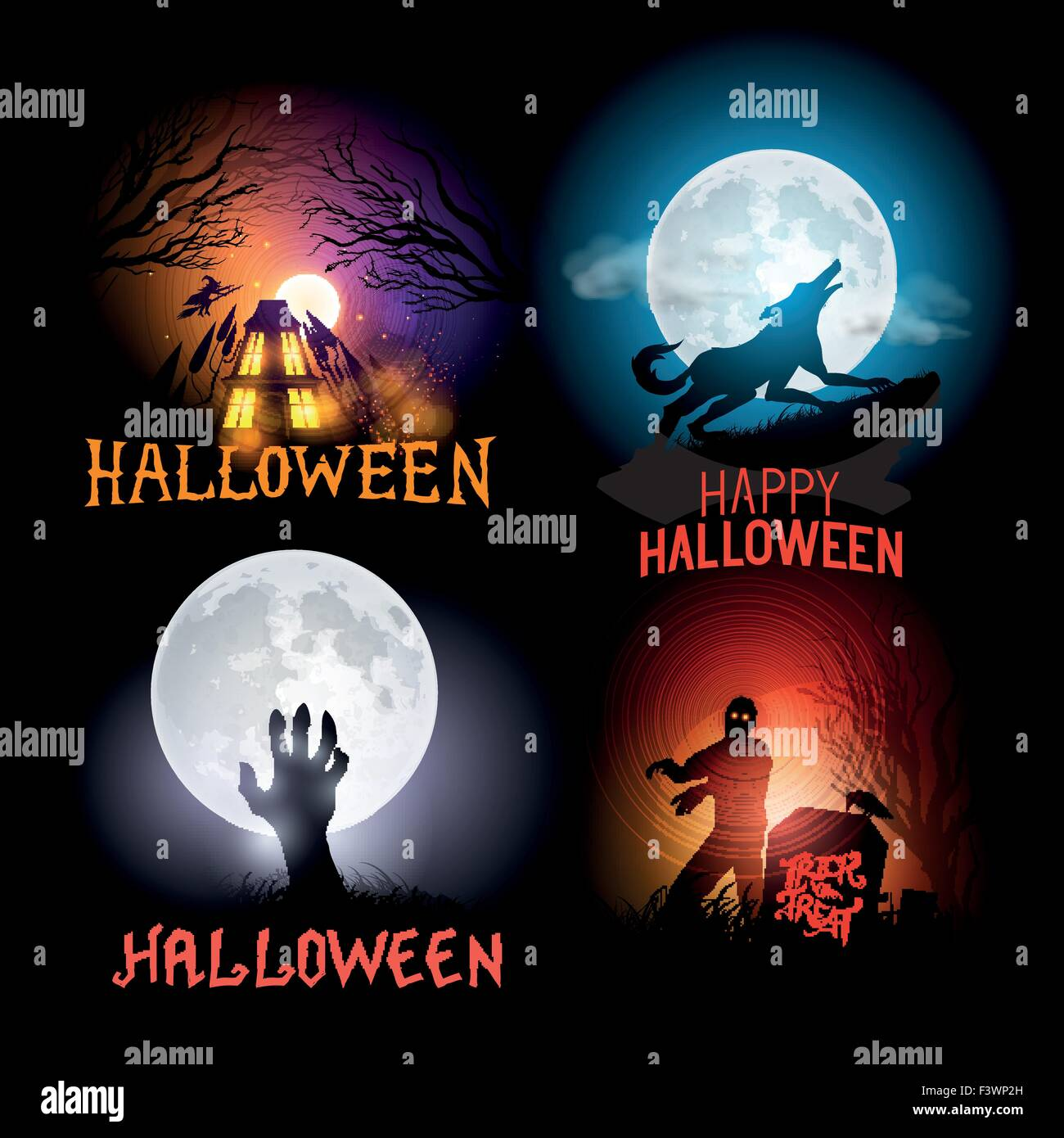 Halloween Vector Backgrounds. Scenes included a haunted house, a werewolf and zombies. Vector illustration. - Stock Image