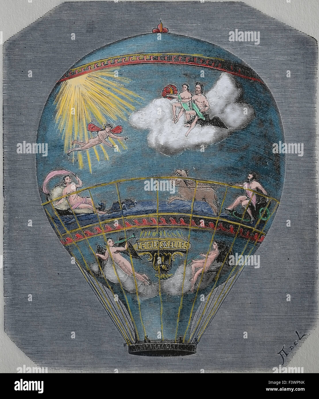 Early hot air balloon flight. This balloon Le Flesselles ascended over Lyon France on 1 January 1784. Engraving. Stock Photo