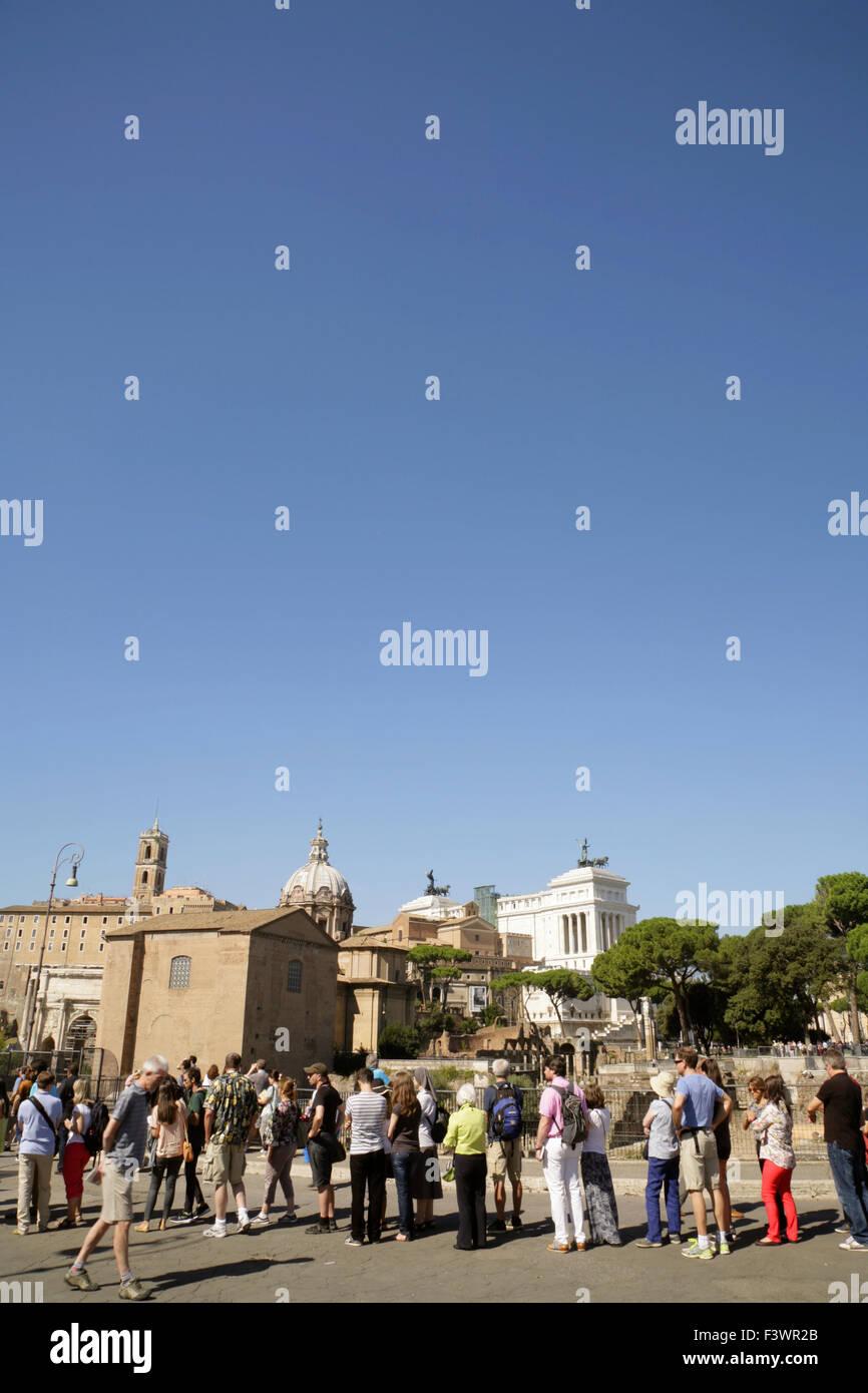 Tourists queueing to enter the Roman Forum, Rome, Italy Stock Photo