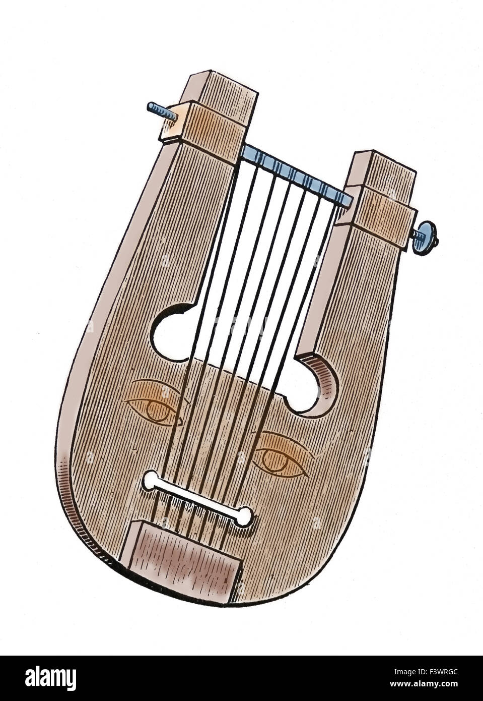 Ancient Greek musical instrument. Lyre. Engraving. 19th century. Color. - Stock Image