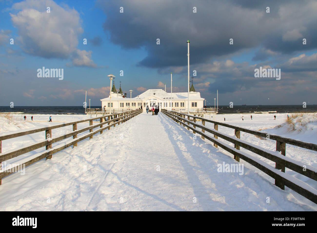 bridge open sea in ahlbeck Stock Photo