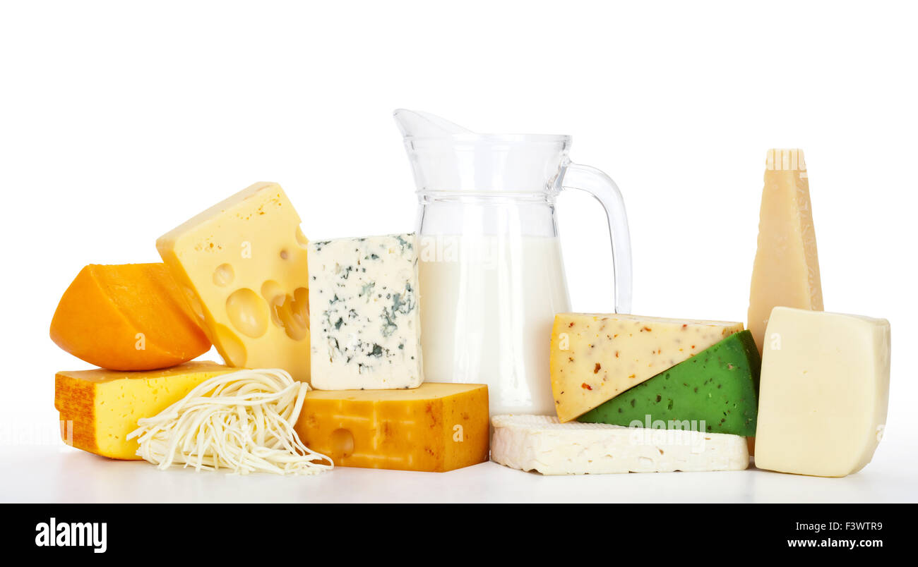 cheeses with milk - Stock Image