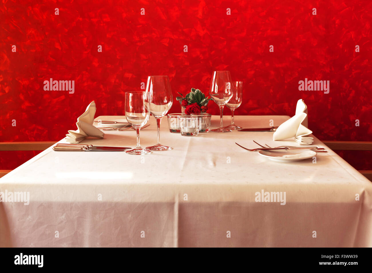 set table in the posh restaurant - Stock Image