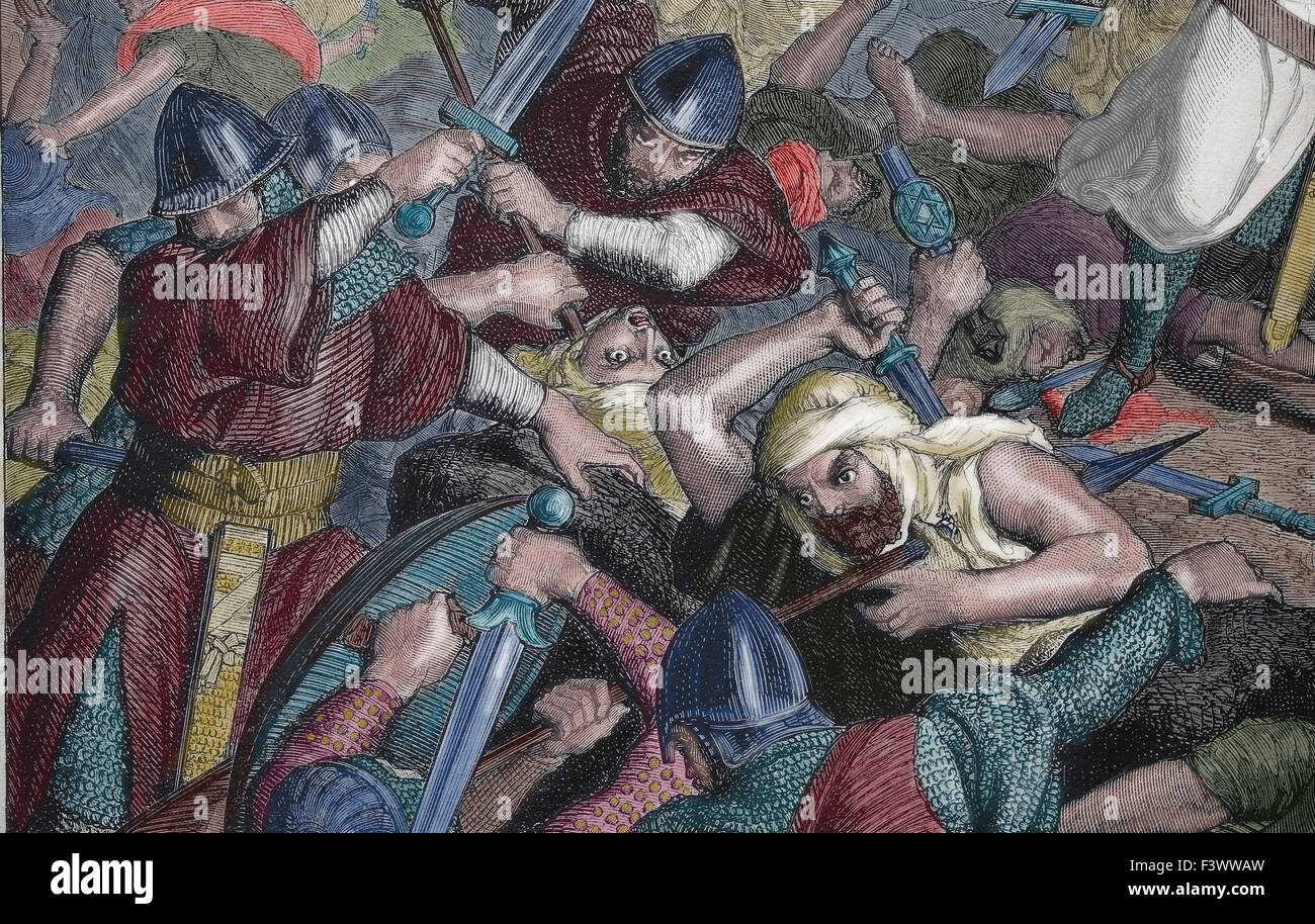 Spain. Conquest of Valencia. El Cid (1043-1099). Battle of Cuarte, 1094. Christians and Moorish army. Engraving - Stock Image