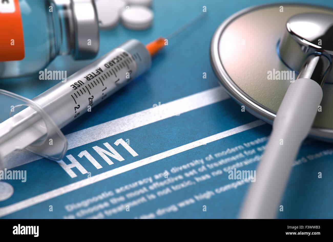 H1N1. Medical Concept on Blue Background. - Stock Image